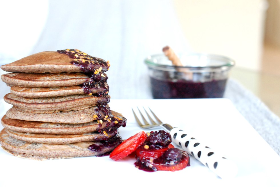 Try out this delicious Kaniwa Oat Pancakes with Chia Blueberry Compote