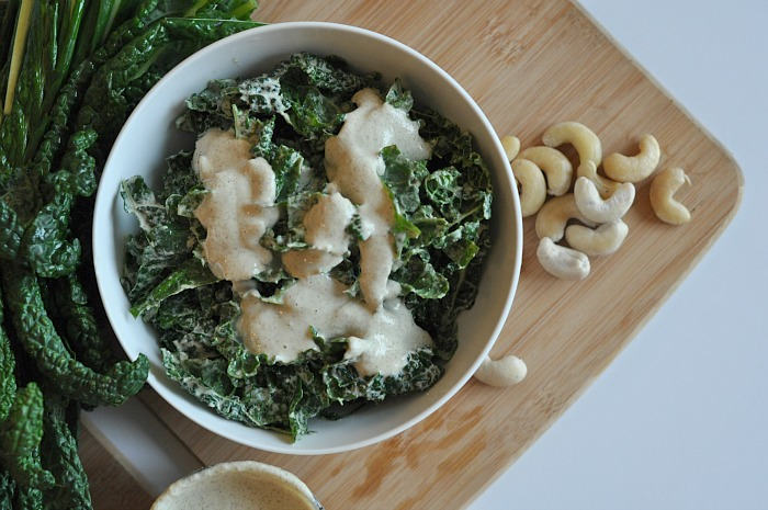 Raw Vegan Kale Caesar Salad - The Balanced Babe