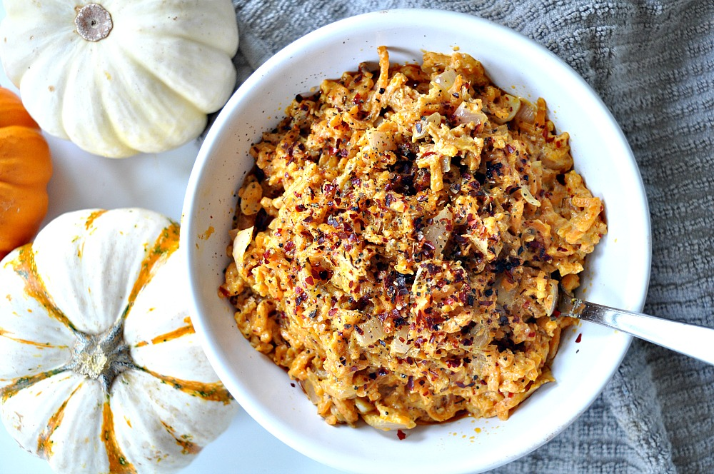 One Pot Spiralized Sweet Potato Rice With Dairy Free Garlic Cream Sauce