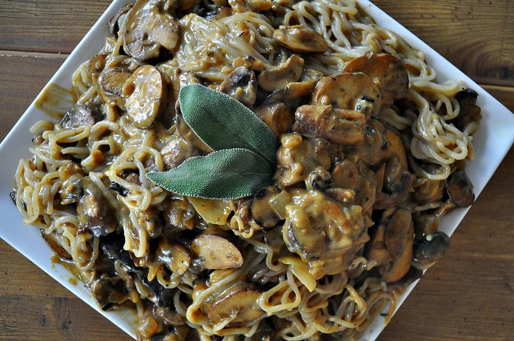 Rosemary Mushroom Stroganoff With Spiralized Parsnip Noodles